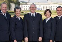 Chief of Staff with Australian Salvation Army leaders. L-R: Comr James Condon, Comr Jan Condon, Comr Brian Peddle, Comr Tracey Tidd, Comr Floyd Tidd