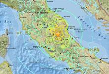 Map of 2016 earthquake area in Italy