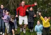 Darren Frazer and kids at Blue Mountain Adventure Centre