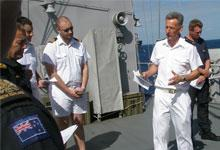 Padre Colin Mason on board a Royal New Zealand navy vessel