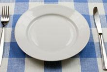 a dinner plate with kniwfe and fork