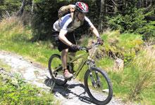 a mountain biker riding
