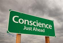 a sign saying conscience