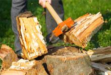 a man with an axe chopping wood