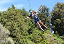 Jo Wardle in a flying fox at Blue Mountain Adventure Centre