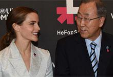 UN Womens Goodwill Ambassador Emma Watson and UN Secretary General Ban Ki-Moon
