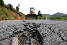 an earthquake damaged road in Kaikoura