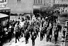 Napier Salvationists in 1886 after release from prison for 'parading the streets in their peculiar fashion'. The War Cry reported: '