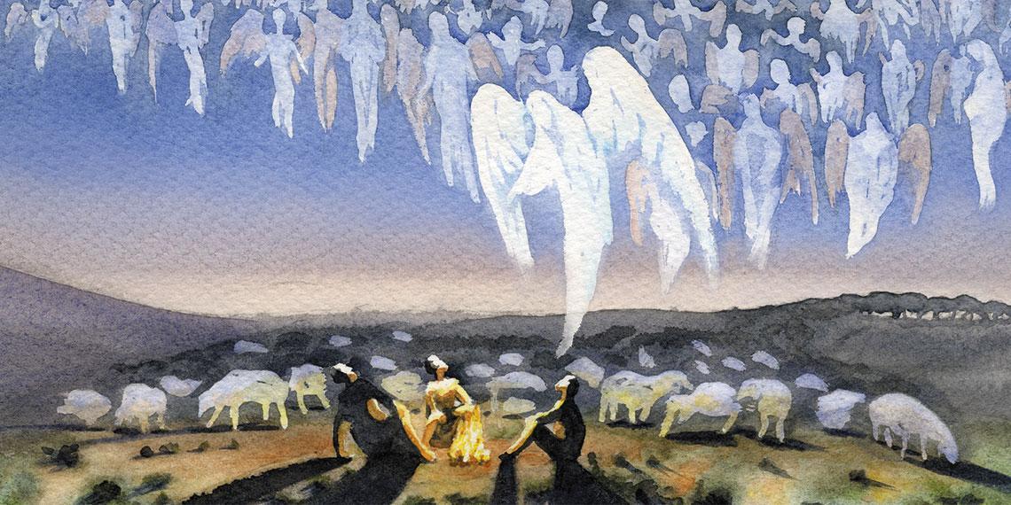 Angels visit shepherds in a field