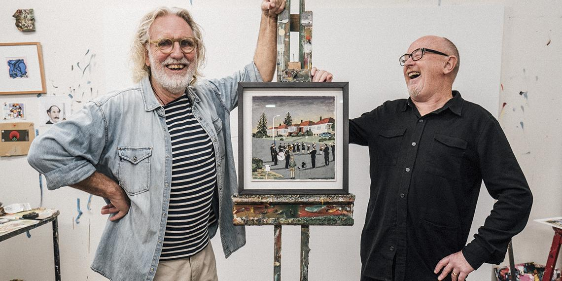 Dick Frizzell with Dave Dobbyn. In Dick's studio sharing his work 'Amazing Grace' with Dave