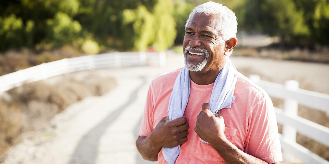 a happy looking senior man
