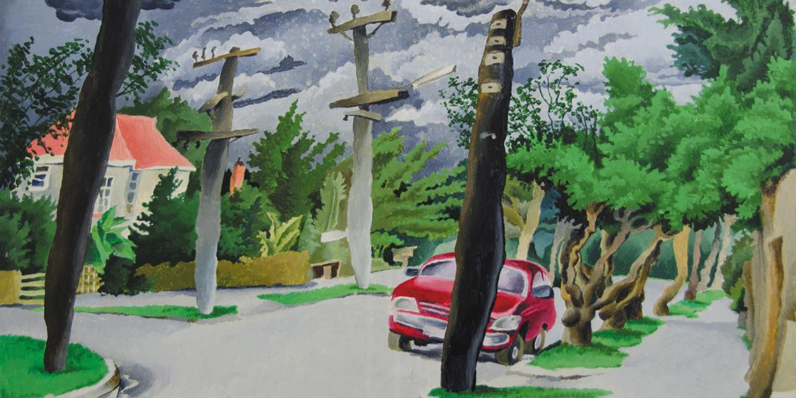 Clive Luscombe, Surburbia painting, mid 1980s