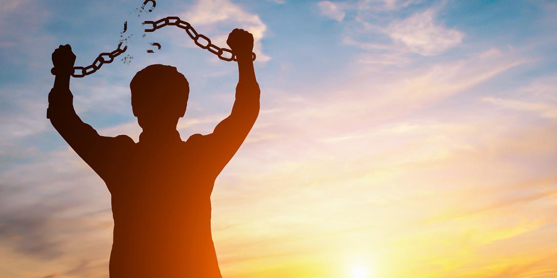 a man braking chains