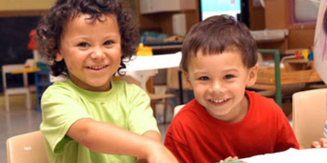 Two children enjoying kid's activities