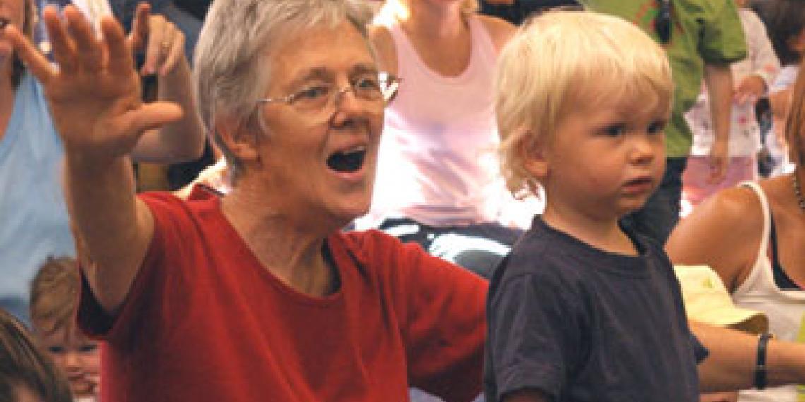 Parents and children alike enjoying children's activities
