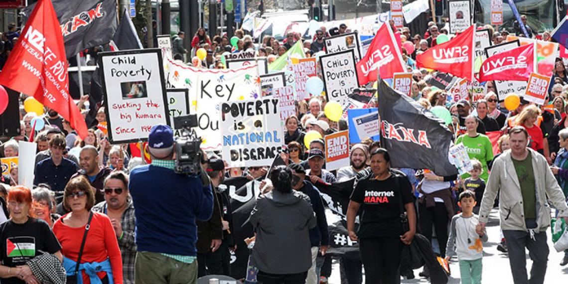 people demonstrating against poverty
