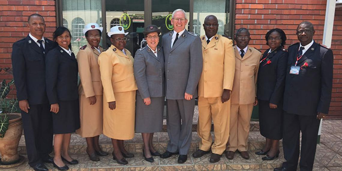 The Salvation Army's new Madagascar team pictured with territorial leaders, the Chief of the Staff and Commissioner Rosalie Peddle