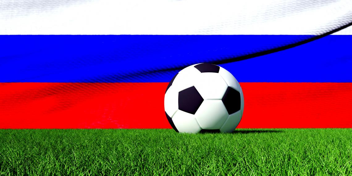 Russian flag with soccer ball in front