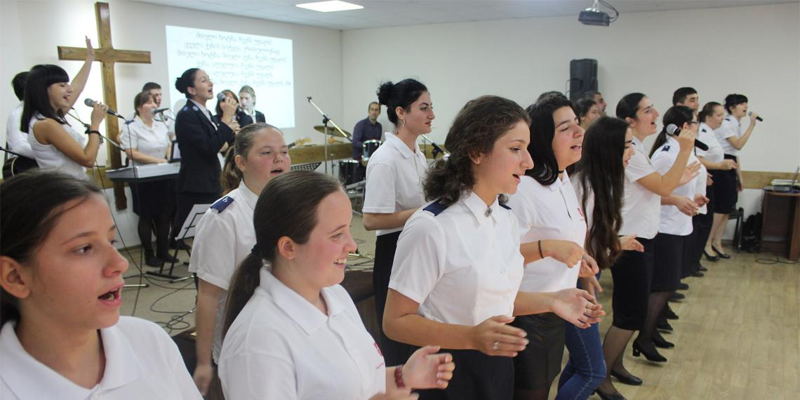 The newly formed Gospel Choir in Georgia - hoto by Captain Levan Kvernadze