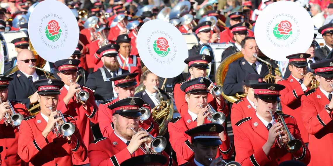 The Salvation Army Tournament of Roses Band marches in the Rose Parade for the 100th time on 1 January 2019 in Pasadena, CA.
