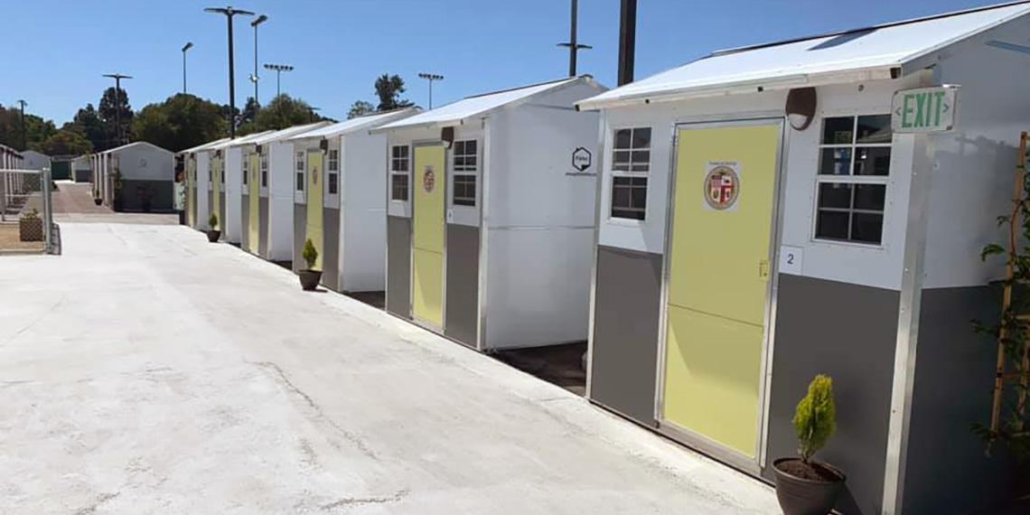 'Tiny House' accommodation at Salvation Village, Harbor City, USA