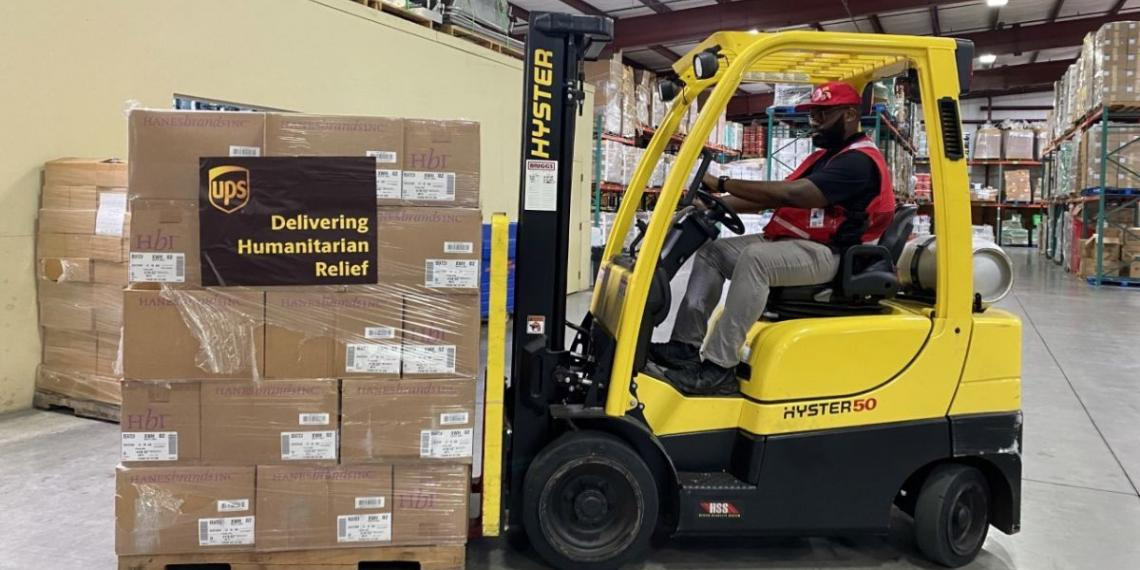 Forklift moving supplies