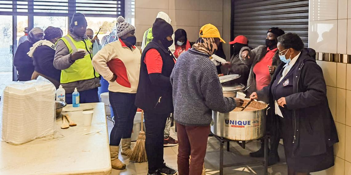 The Salvation Army in Soweto supporting a community clean-up in Dobsonville Shopping Mall, following civil unrest