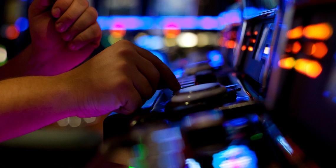 Person using a slot machine