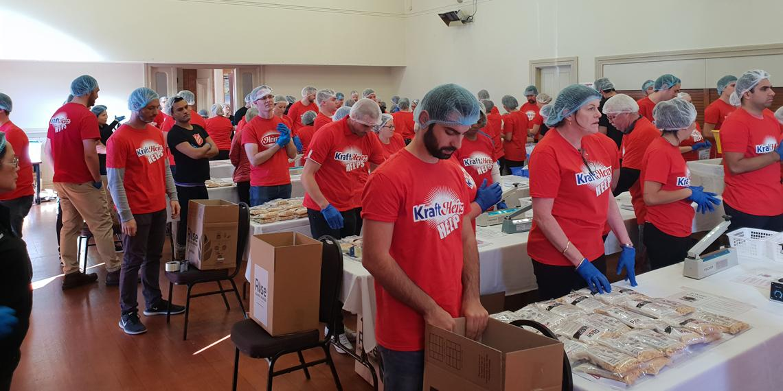 THe Kraft Heinz and Salvation Army packing team