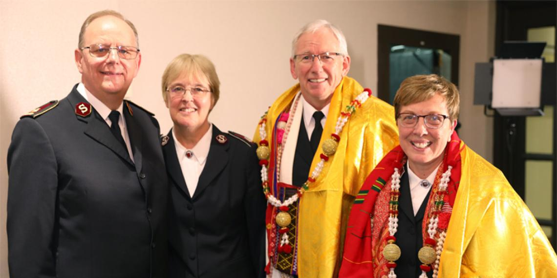 Salvation Army IHQ General André Cox and Commissioner Silvia Cox with General-elect Commissioner Brian Peddle and Commissioner Rosalie Peddle