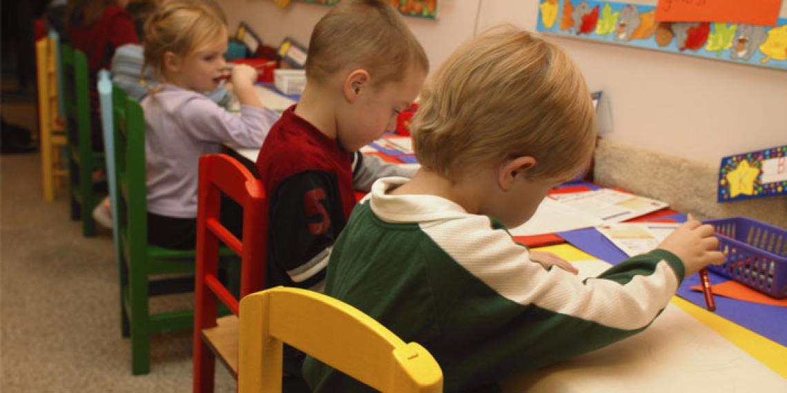 Preschool class of children
