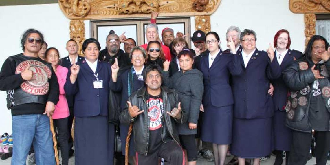 Gang members with Salvation Army staff at 2012 Salvation Army Maori Ministry Hui