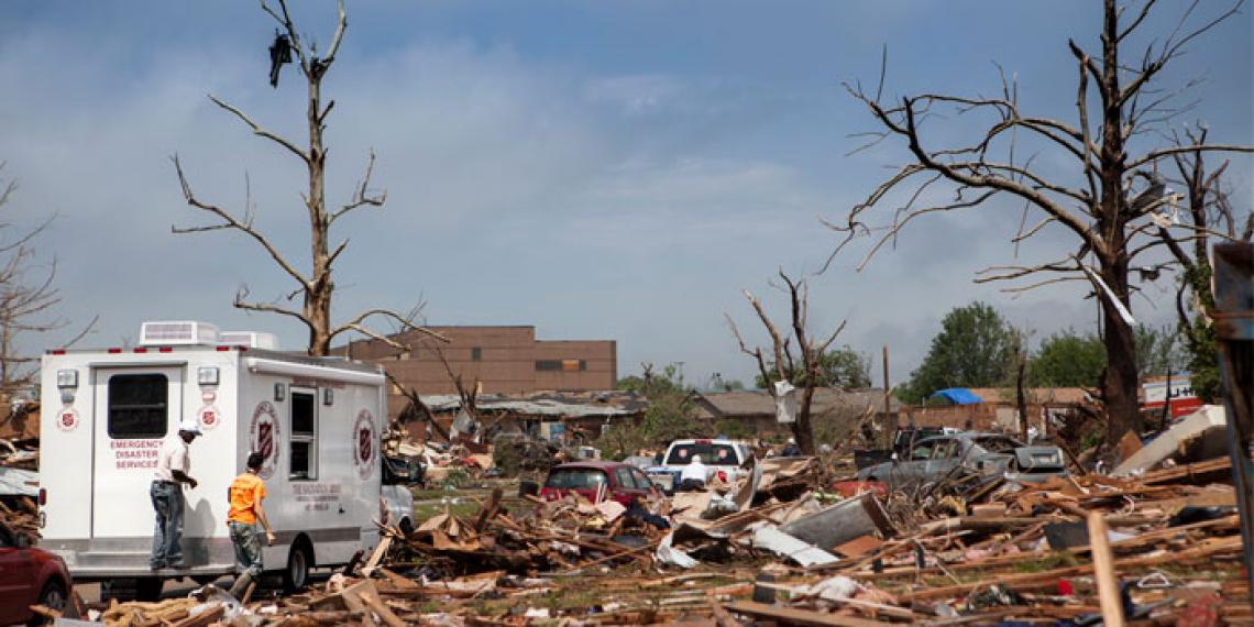 The town of Moore, Oklahoma USA after being hit by a tornado.