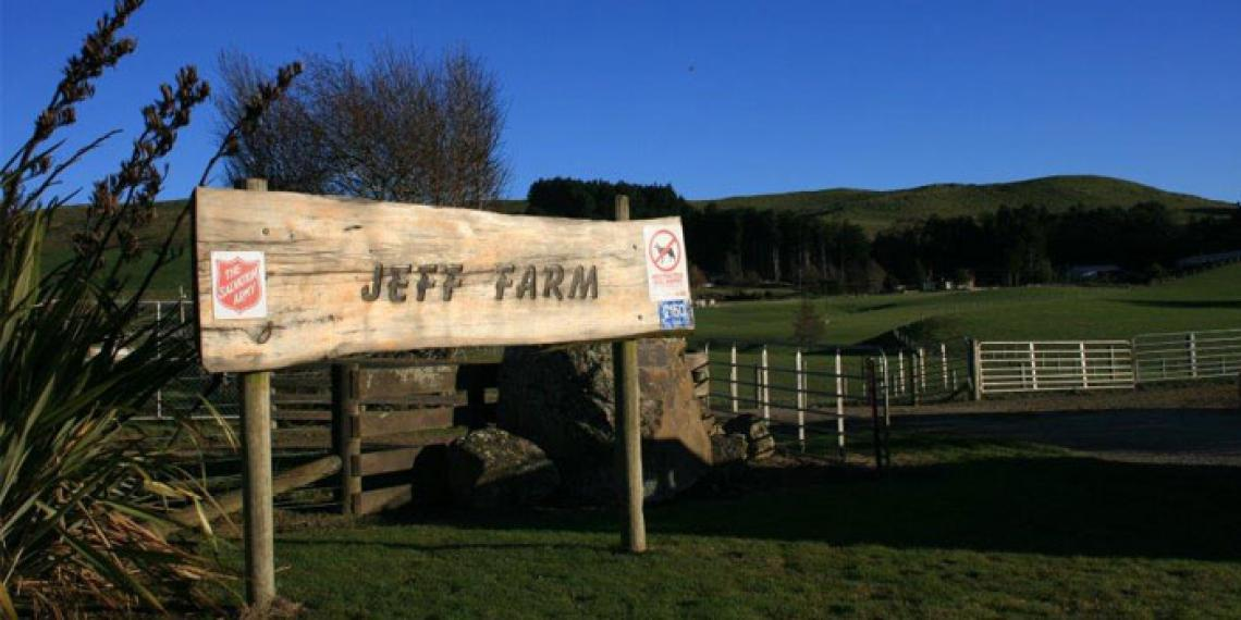 The sign of Jeff Farm in South Otago
