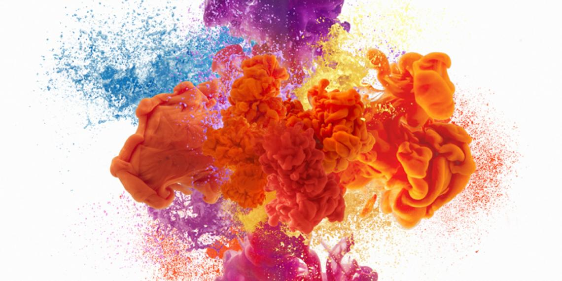 an explosion of colour in water