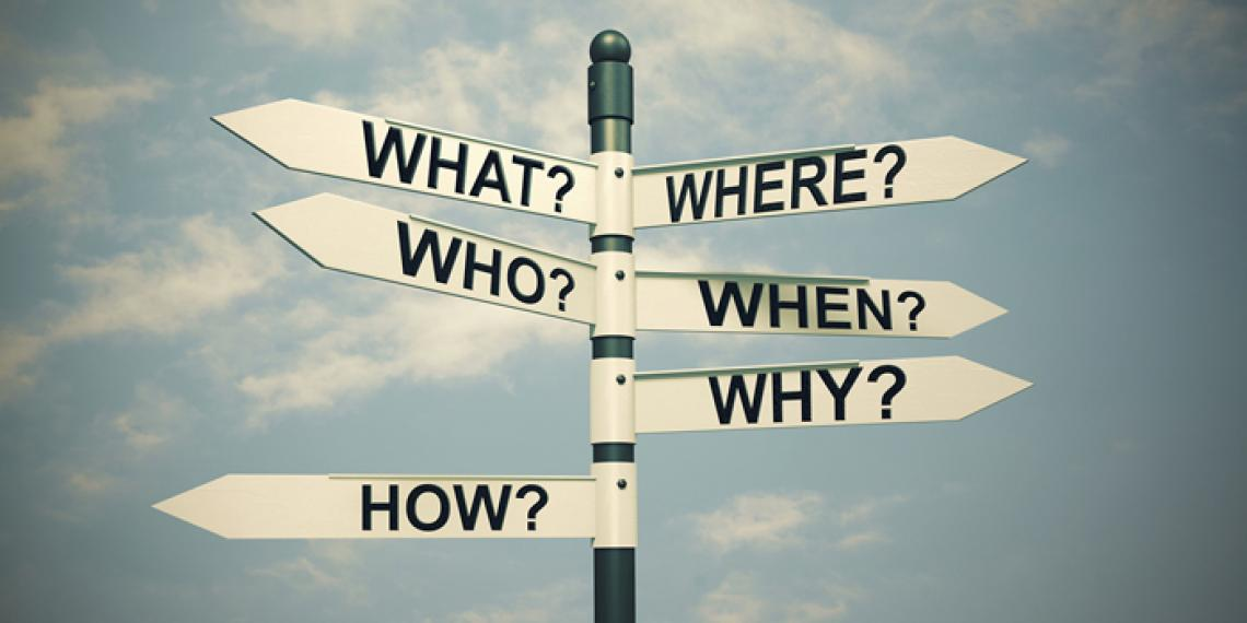 a signpost with questions
