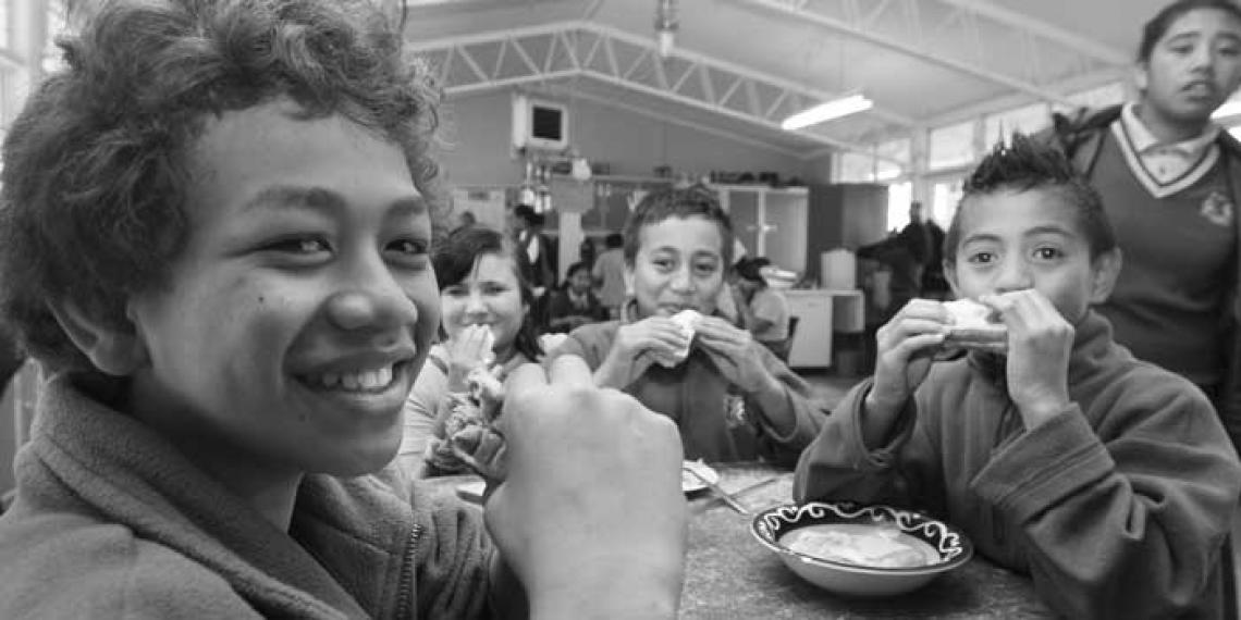 Eating lunch provided by Te Wharekura O Te Kao Kao Roa o Patetere school in Putaruru.