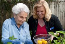 A seniors volunteer with a senior person