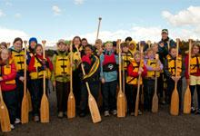 roup of children with paddles at Blue Mountain Adventure Centre