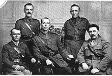 Padre Walter Winton, (back left) with other Salvation Army Chaplains; Bladin (back right), Walls (centre) Garner (front left) and Greene (front right).