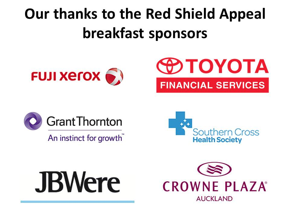 Red Shield Appeal breakfast Auckland sponsors