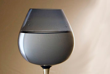 Wine glass full of water