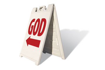 Sign pointing to God