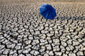 a blue umbrella in the middle of a dry desert