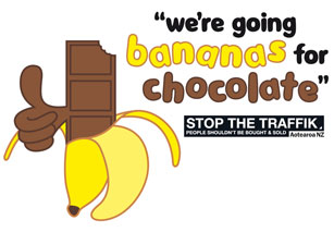 STOP THE TRAFFIK going bananas for chocolate logo